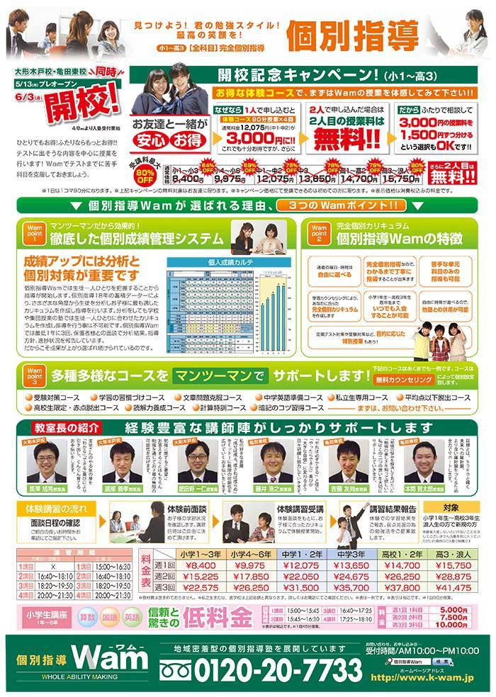 大形木戸校、亀田東校 2013年5月13日(月)プレオープン・ウラ面