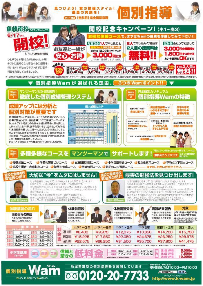 魚崎南校 2013年5月27日(月)プレオープン・ウラ面