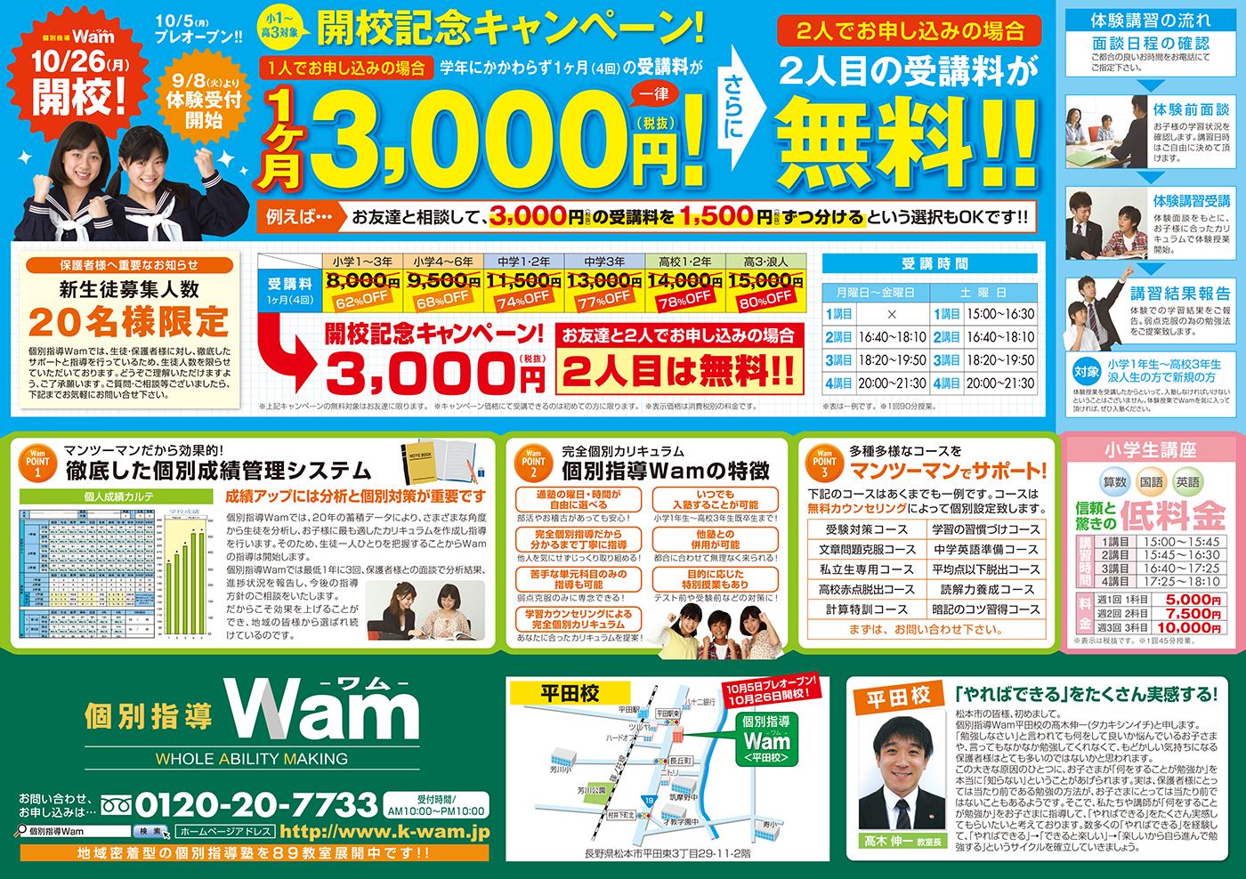 平田校 2015年10月5日 (月) プレオープン・ウラ面