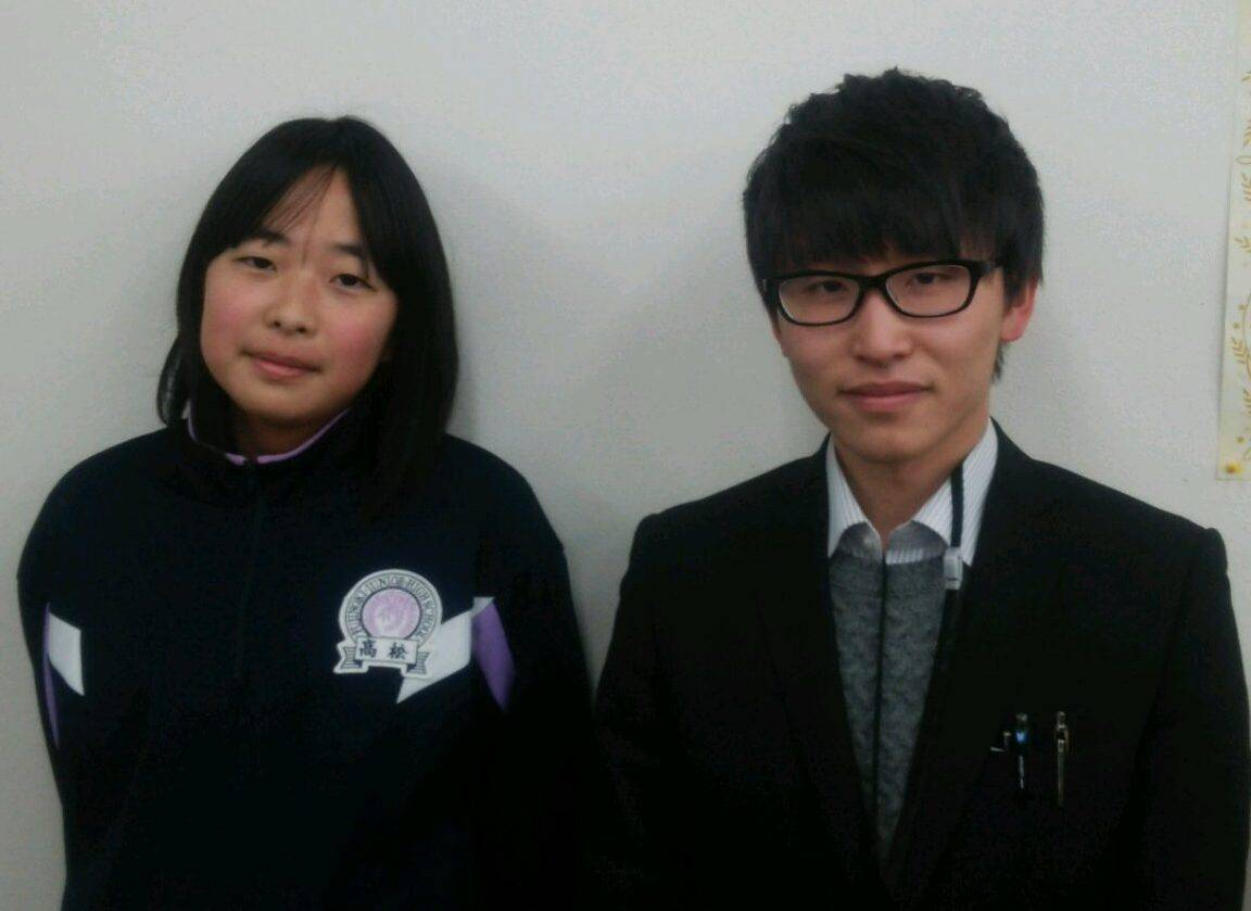 H29春 中学2年 高松桃加さん 本山先生