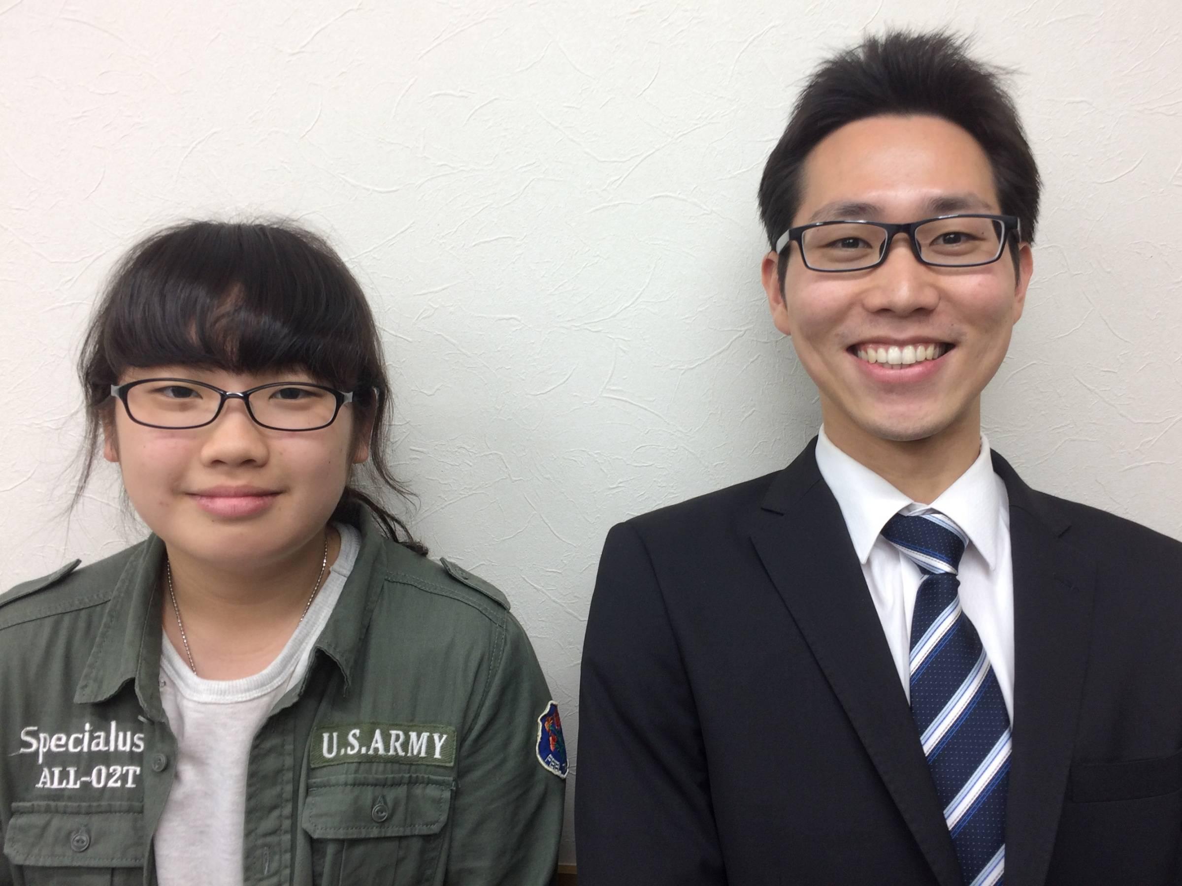 H29夏 中学3年 大塚千寛さん 杉本先生