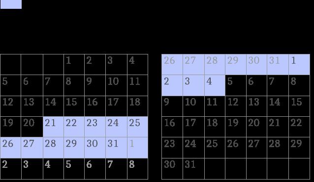 春期講習カレンダー