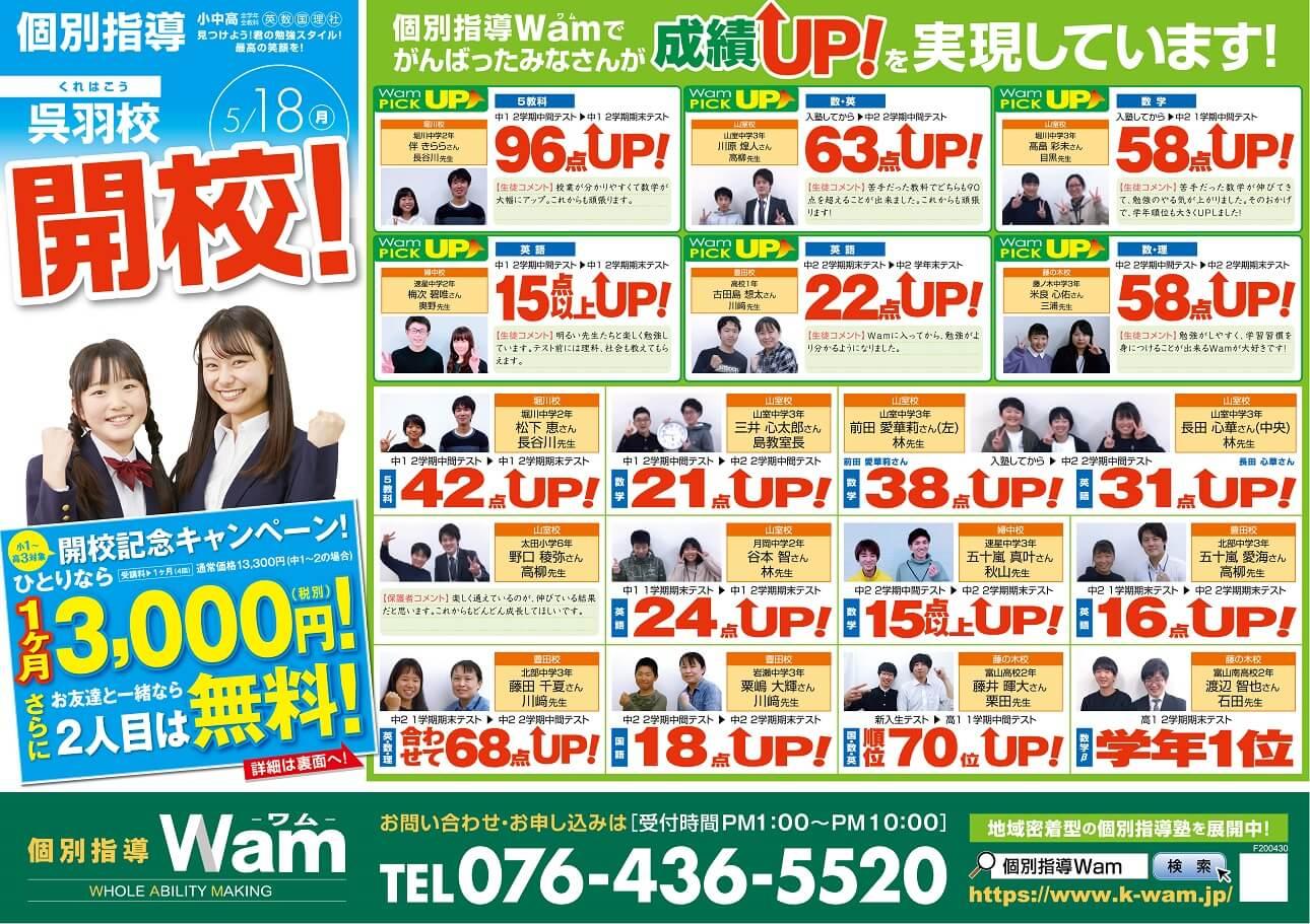 呉羽校 2020年5月18日(月) 開校・オモテ面